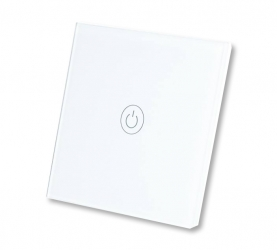 Dotykowy włącznik światła szklany pojedynczy - biały