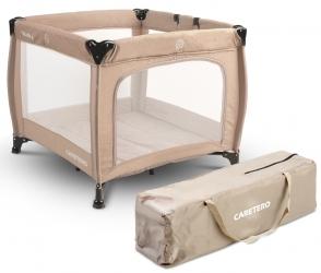 Kojec łóżeczko Caretero QUADRA + torba - brązowy