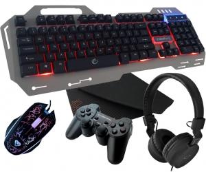 Metalowa klawiatura dla graczy Rebeltec Discovery 2 z podświetleniem + mata na biurko + mysz + słuchawki + pad