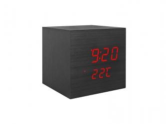 Budzik kostka LED z termometrem - kolor czarny