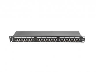 "Patch panel 24x port 1U LANBERG do szafy RACK 19"" KAT.6 ekranowany czarny"