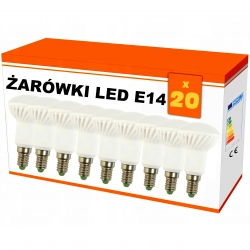 """Zestaw 20x  żarówek """"R50"""" LED ceramiczna E14 6W AC230V, 470 lm!,WW,blist"""