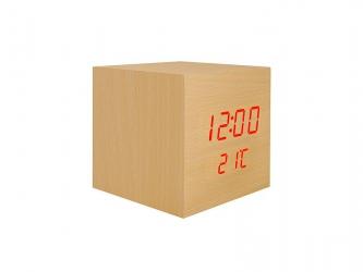 Budzik kostka LED z termometrem - naturalny kolor drewna