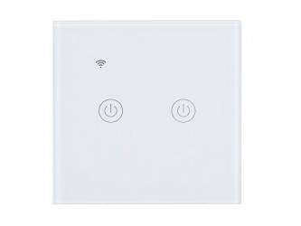 Dotykowy włącznik światła WiFi szklany podwójny - biały