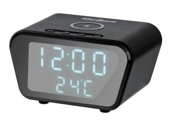 Cyfrowy zegar-budzik Rebel z ładowarką indukcyjną - czarny