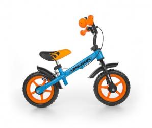 Rowerek biegowy Milly Mally Dragon z hamulcem i dzwonkiem niebiesko-pomarańczowy