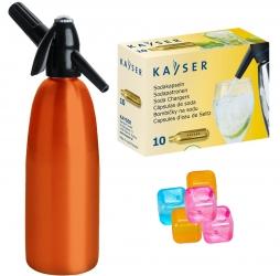 Saturator syfon do wody QUICK SODA pomarańczowy 1L + 10 naboi + 5 kostek lodu