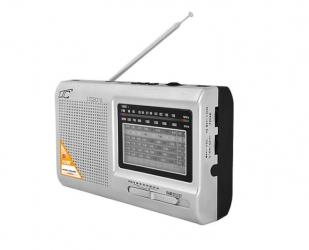 Przenośne radio LTC Wilga z wbudowanym akumulatorem USB SD srebrne