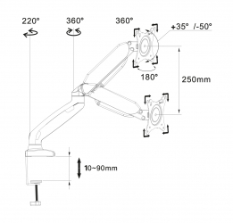 "Uchwyt biurkowy gazowy do jednego monitora LED/LCD 10-32"" ART L-17GD 9kg 2xUSB 3.0"
