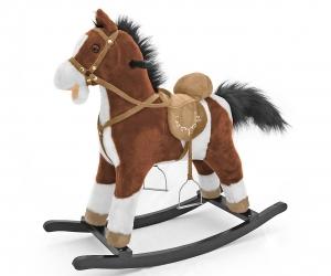 Koń na biegunach Milly Mally Mustang ciemny brąz interaktywny konik bujany