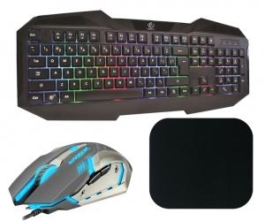 Klawiatura gamingowa podświetlana dla graczy REBELTEC PATROL + mysz + słuchawki