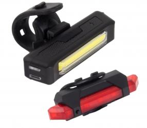 Zestaw lampka rowerowa LED na przód i tył Esperanza ELNATH + VELORUM ładowanie przez USB