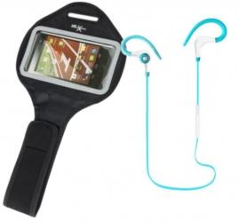 Słuchawki sportowe do biegania BT z mikrofonem + sportowy etui na ramie na telefon