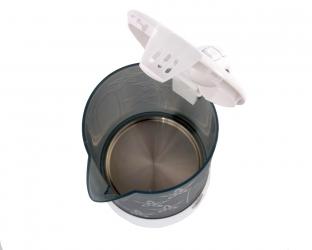 Mały elektryczny czajnik plastikowy na podróż Adler AD 1268 0,6 L, kubki, łyżeczki