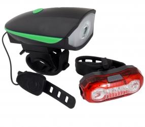 Zestaw lampka rowerowa LED na przód i tył Esperanza ALFARD z dzwonkiem + POLARIS USB