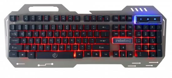 Metalowa klawiatura dla graczy Rebeltec Discovery 2 Metal LED RED miejsce na telefon