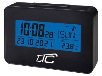 Cyfrowy zegar budzik z termometrem LTC sterowany radiowo - czarny