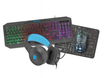 Klawiatura podświetlana graczy + słuchawki + myszka + mata - FURY THUNDERSTREAK 3.0