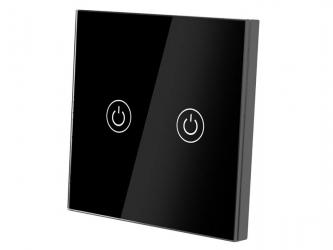 Dotykowy włącznik światła szklany podwójny - czarny