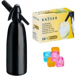 Saturator syfon do wody QUICK SODA czarny 1L + 10 naboi + 5 kostek lodu