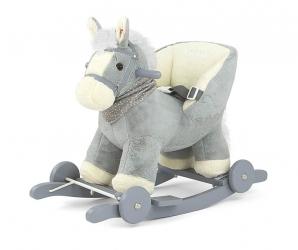 Koń na biegunach Milly Mally PePe purpurowy interaktywny konik bujany
