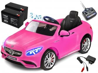 Samochód auto na akumulator Caretero Toyz Mercedes-Benz S63 AMG akumulatorowiec + pilot + akumulator + ładowarka - różowy