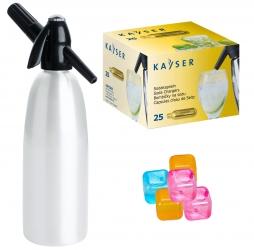Saturator syfon do wody QUICK SODA biały 1L + 25 naboi + 5 kostek lodu