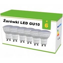 Zestaw 6x żarówek LED GU10 4W AC230V, CW blist.