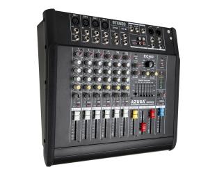 Mikser audio powermikser AZUSA PMQ-2108 z wbudowanym wzmacniaczem 2x240W 8 kanałów