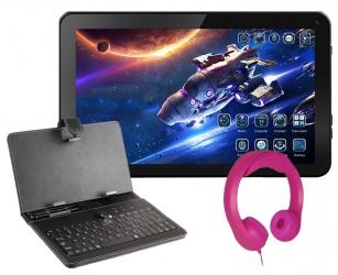 Tablet edukacyjny dla dzieci + słuchawki różowe + klawiatura