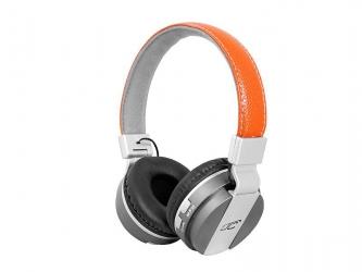 Słuchawki bezprzewodowe bluetooth LTC MIZZO mikrofon FM SD AUX - brązowe skórzane