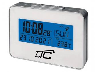 Cyfrowy zegar budzik z termometrem LTC sterowany radiowo - srebrny