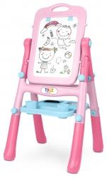 Magnetyczna tablica edukacyjna Caretero Toyz Pink dwustronna klasyczna i whiteboard