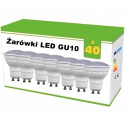 Zestaw 40x żarówek LED GU10 4W AC230V, WW blist.