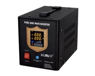 Awaryjne źródło zasilania KEMOT PROsinus-300 przetwornica z czystym przebiegiem sinusoidalnym i funkcją ładowania 12 V/300 W czarny