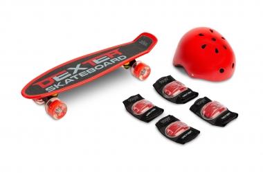Deskorolka Caretero Toyz DEXTER + kask i ochraniacze - czerwona