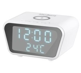 Cyfrowy zegar-budzik Rebel z ładowarką indukcyjną - biały