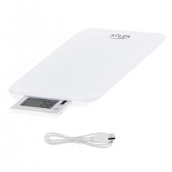 Elektroniczna waga kuchenna Adler ad 3167w ładowana przez USB do 10kg biała