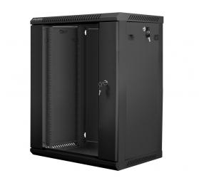 Szafa instalacyjna RACK wisząca 19'' 15U 600x450 drzwi szklane Lanberg - czarna