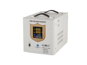 Awaryjne źródło zasilania KEMOT URZ3407 PROsinus-1200 przetwornica z czystym przebiegiem sinusoidalnym i funkcją ładowania 12V / 1200W biała