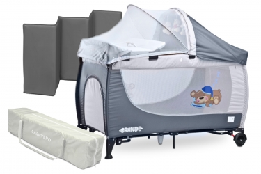 Łóżeczko turystyczne Caretero GRANDE kojec kołyska + torba + moskitiera + przewijak + organizer + zabawki + pozytywka - szare