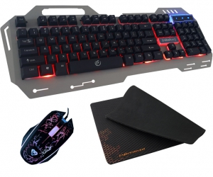 Metalowa klawiatura dla graczy Rebeltec Discovery 2 z podświetleniem + mata na biurko + mysz