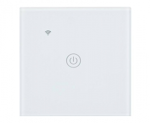 Dotykowy włącznik światła WiFi szklany pojedynczy - biały