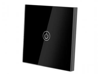 Dotykowy włącznik światła szklany pojedynczy - czarny