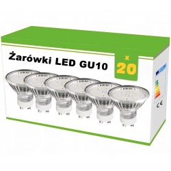 Zestaw 20x żarówek LED GU10 1,2W AC230V, 100lm,WW,blister