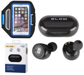 """Słuchawki BLOW Earbuds BTE100 Bluetooth PowerBank + etui na ramię 5.5"""""""