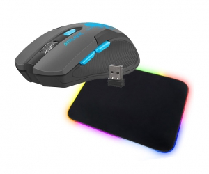 Bezprzewodowa mysz gamingowa FURY STALKER + mata na biurko LED
