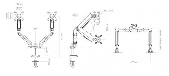"""Uchwyt biurkowy gazowy do dwóch monitorów LED/LCD 10-32"""" L-18GD ART 9kg 2xUSB 3.0"""