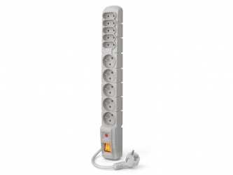 Listwa zasilająca ACAR S10 1.5m 5X 230V PL 5X płaskie 230V szara